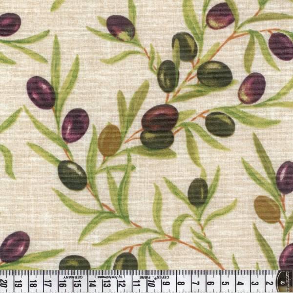 Oliven - creme - Wachstuch