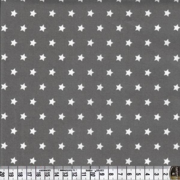 Capri Weiße Sterne auf graubraunem Hintergrund - Wachstuch