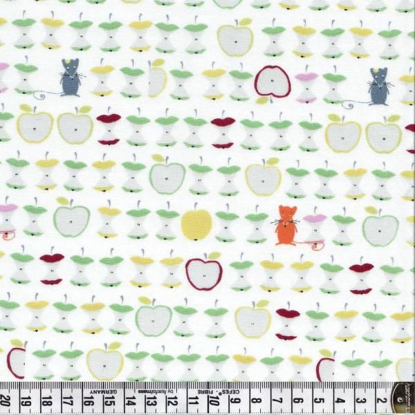 Äpfel und Mäuse auf weißem Hintergrund - Patchworkstoff