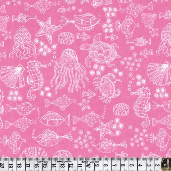Merryn Meeresbewohner rosa - Patchworkstoff