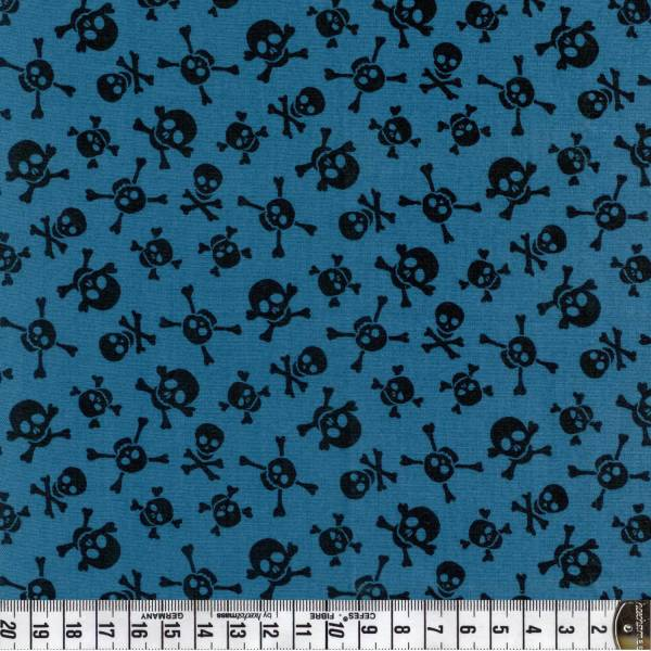 Little Monster - Totenkopf - blau- Patchworkstoff