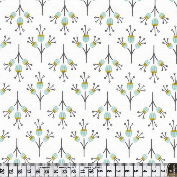Blumen - weiß - Patchworkstoff