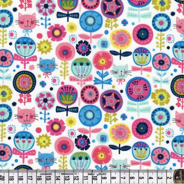 Blumen - rosa / weiß - Kitty - Patchworkstoff