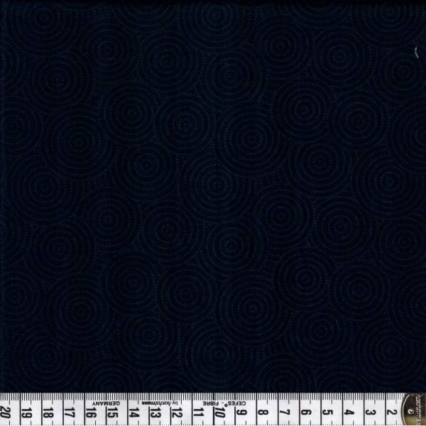Kreise gepunktet - grau auf schwarz - Patchworkstoff