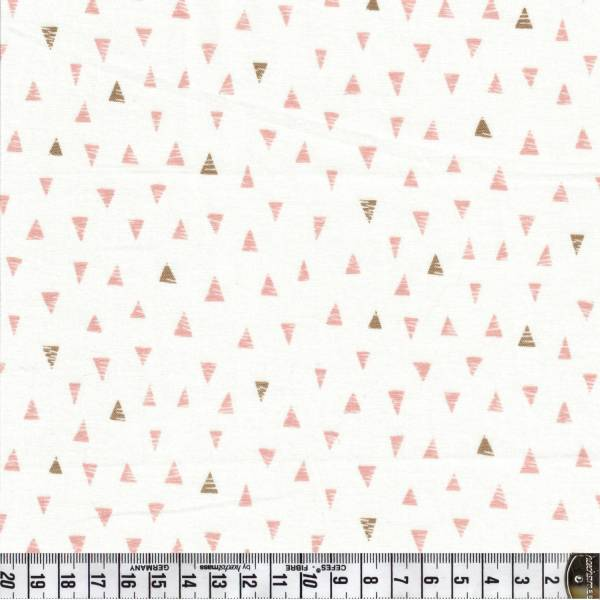 Doodle Days Triangles - Rosa auf Weiß - Patchworkstoff