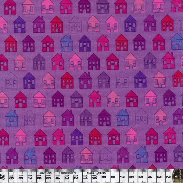 Quilters Basic - Häuser - Haus - lila