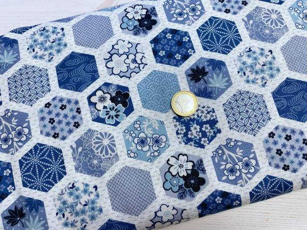 Hexagon - blau - Meterware