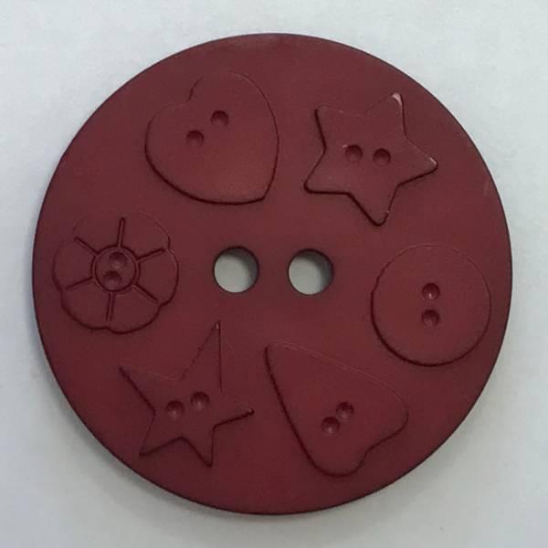 Großer Modeknopf - rot - bordeaux - 30 mm