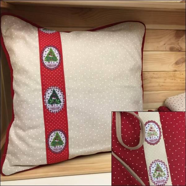 Materialpackung - Weihnachtskissen - rot oder creme