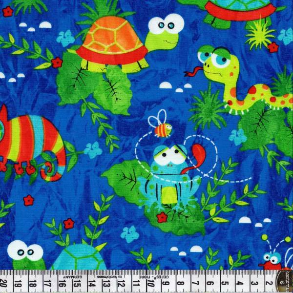 Amphibien - Blau - Patchworkstoff
