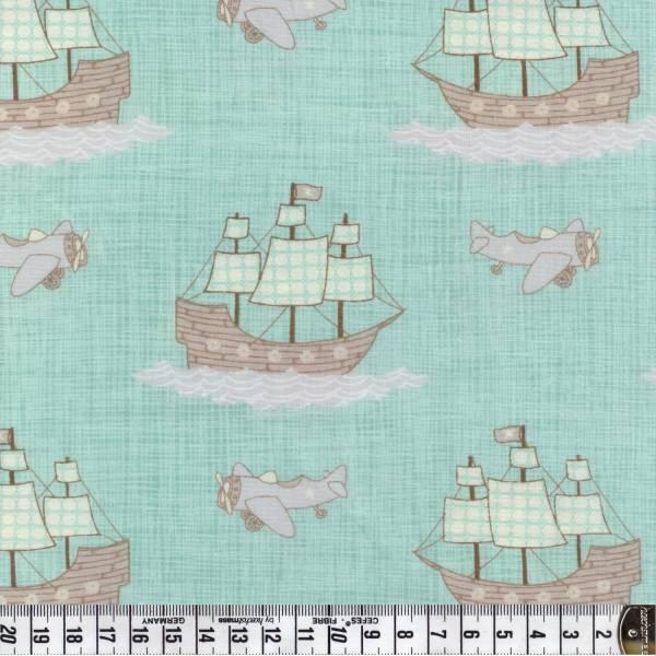 Story Book - Moda - Schiffe und Flieger türkis