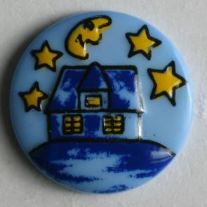 Kinderknopf - Haus Mond Sterne - blau - 18 mm