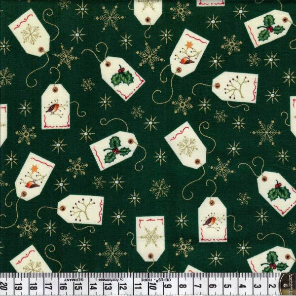 Christmas Tags - Grün - Weihnachtsstoff