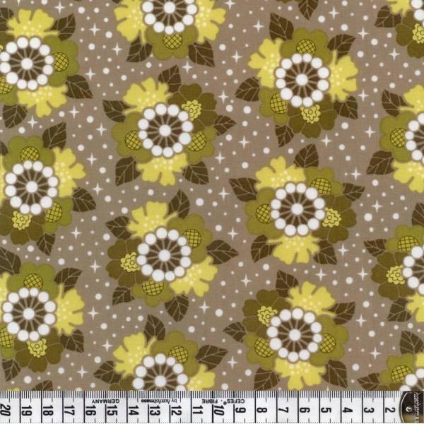 Blumen auf grün grau - Patchworkstoff