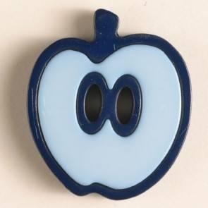 Kinderknopf - Apfel - blau - 25 mm