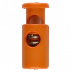 Kordelstopper - rund mit Feder - orange - 23 mm