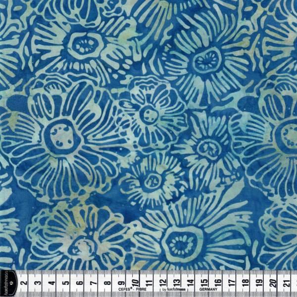 Batikstoff - blau - Blumen - Batik