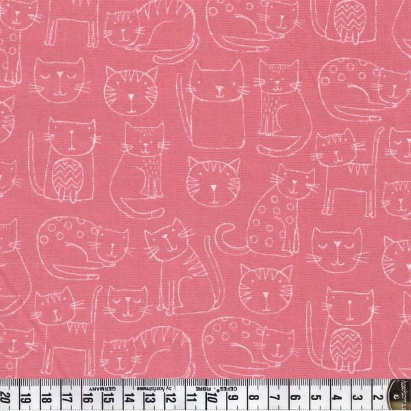 Katze - rosa - Kitty - Patchworkstoff