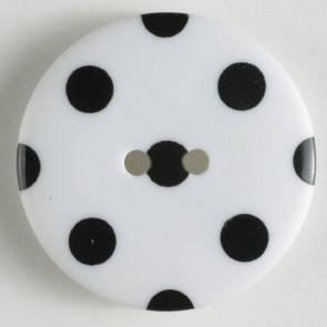 Modeknopf - weiß - schwarz gepunktet - 25 mm
