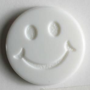 Smiley - Knopf - weiß - 15 mm