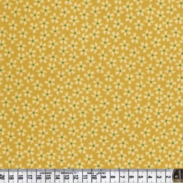 Sundance Striche/Blumen in gelb - Patchworkstoff