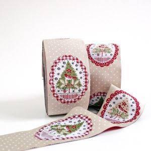 Satin-Webband Weihnachtsovale natur 5 cm breit