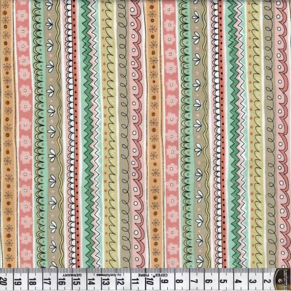 Doodle Days Stripes - Creme - Patchworkstoff