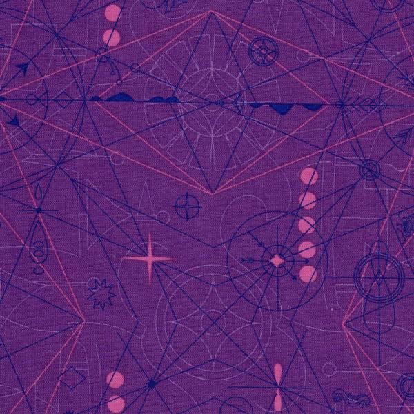 Sun Print 2018 - Kompass - lila - Patchworkstoff