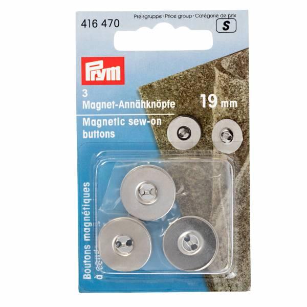 Magnet - Annähknöpfe 19 mm - Silberfarbig