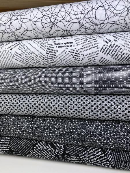 Stoffpäckchen - schwarz - weiß - 6 Fat Quarter je 50 x 55 cm