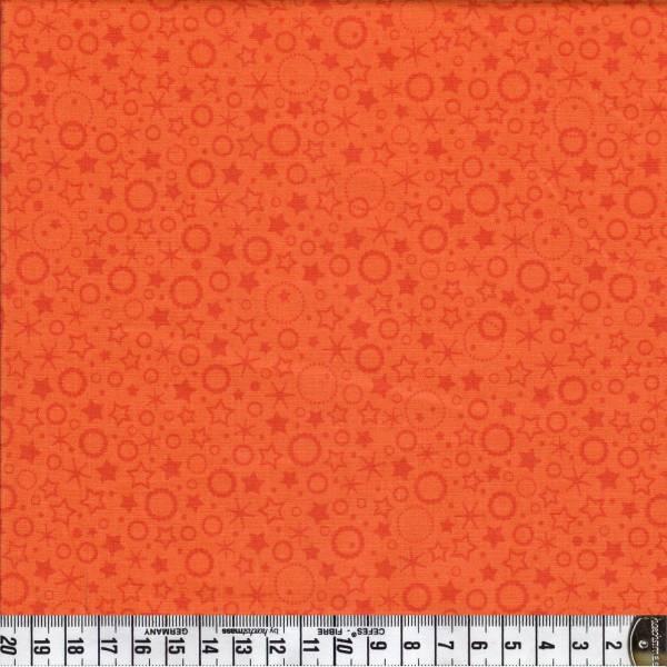 Punkte und Sterne - orange - Patchworkstoff