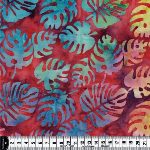 Batikstoff - rot Blattmuster - Batik