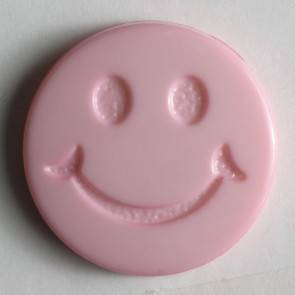 Smiley - Knopf - rosa - 15mm
