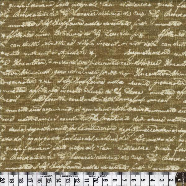 Gloria - Schrift auf Braun - Patchworkstoff