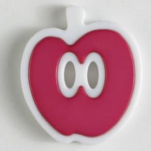 Apfel - Knopf - pink - weiß - 25mm