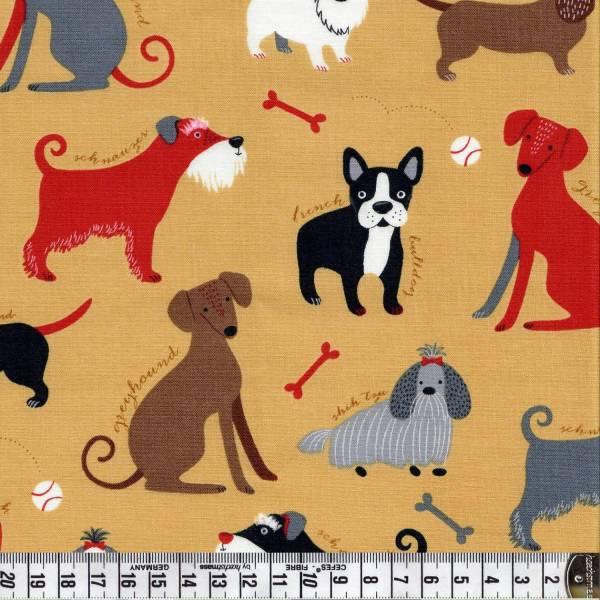 Classy Canines - Hunderassen auf Creme - Patchworkstoff