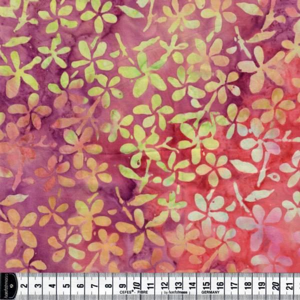Batikstoff - pink lila gelb - Blumen - Batik