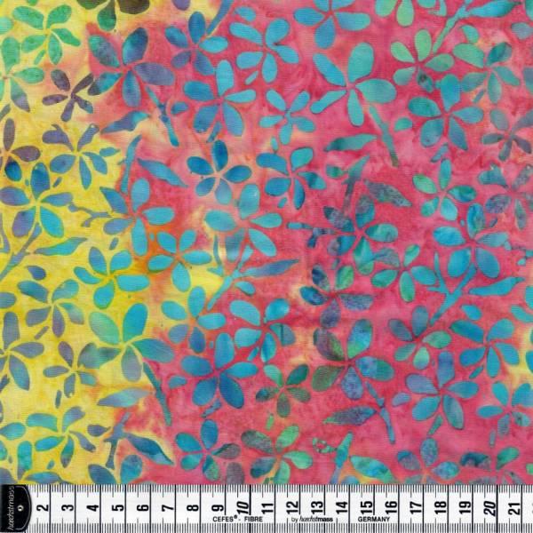 Batikstoff - pink gelb türkis - Blumen - Batik