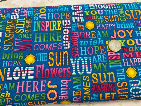 Sunshine Kisses - Schrift - blau - Patchworkstoff