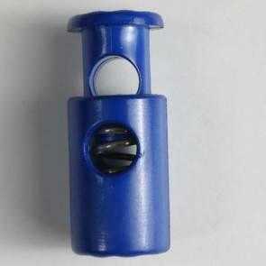 Kordelstopper - rund mit Feder - blau - 23 mm