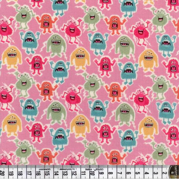 Little Monster - Monster - rosa - Patchworkstoff