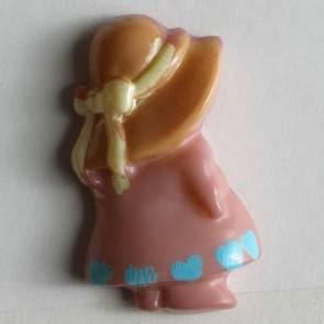 Kinderknopf- Mädchen mit Hut - rosa - 23mm