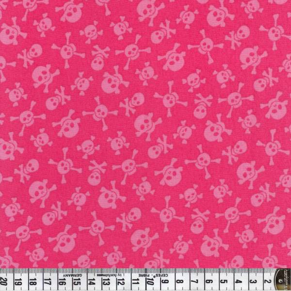 Little Monster - Totenkopf - pink - Patchworkstoff