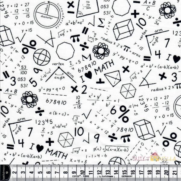 Math - Mathe - Schule - Studium - schwarze Zeichen auf weiß - Baumwollstoff