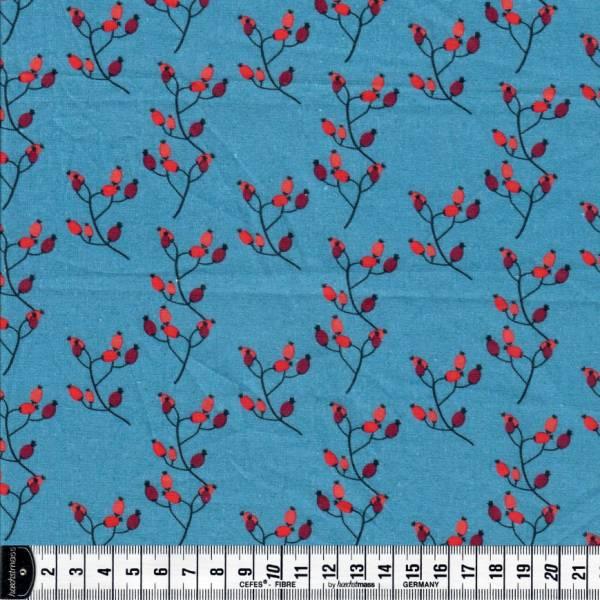 Winter 4 You - Hagebutten auf blau - Weihnachtsstoff