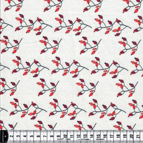 Winter 4 You - Hagebutten auf weiß - Weihnachtsstoff