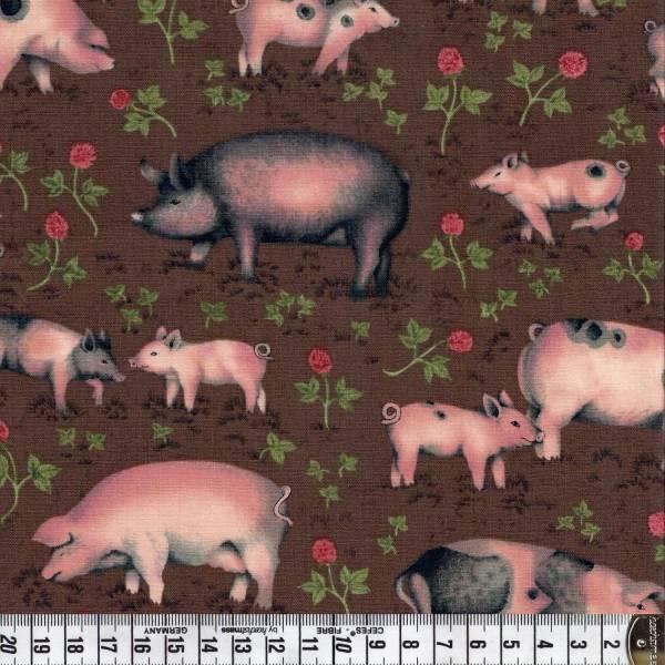 Buttercup Farm - Schweine - Patchworkstoff