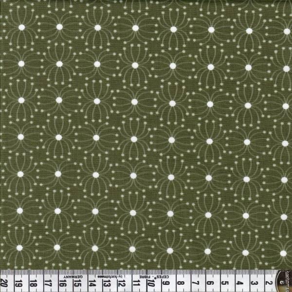 Blumenmuster - Weiß - Grün - Patchworkstoff