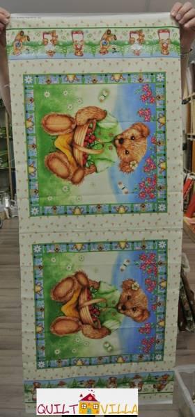 Teddy - Panel - Bilderstoff - Kinderstoff - Erdbeerteddy