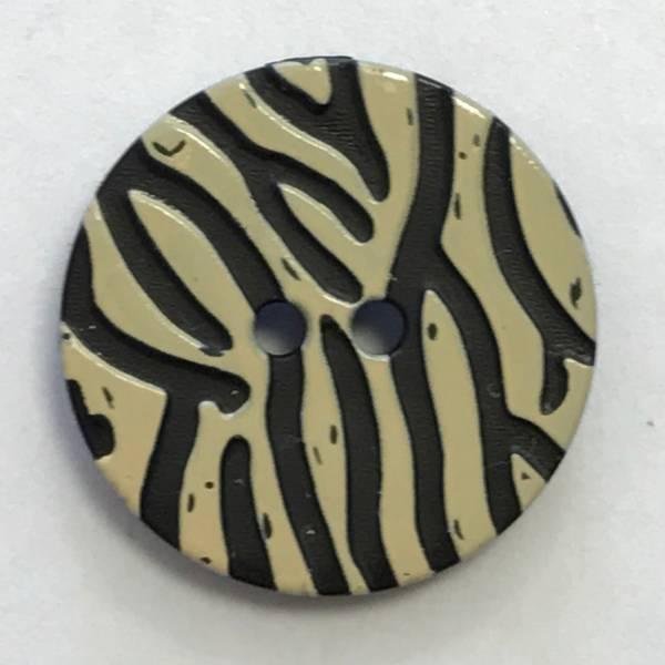 Modeknopf - Zebra - schwarz - beige - 20 mm